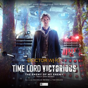 The cover of 'The enemy of my enemy' with the Eighth Doctor stood on an alien planet with three daleks behind him, looking at him.