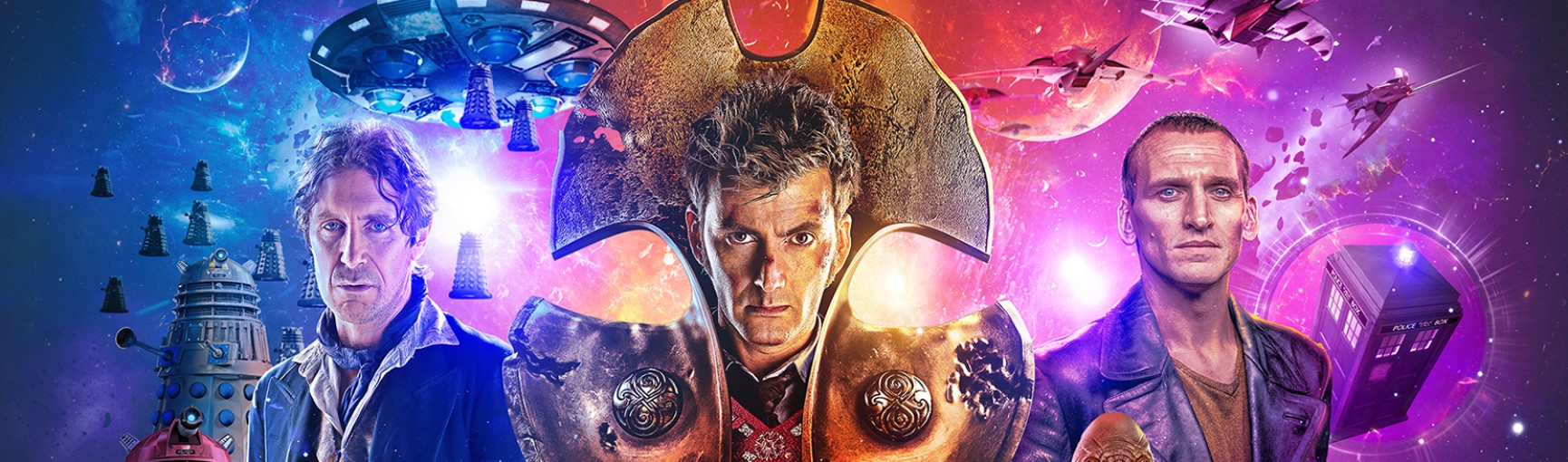 Time Lord Victorious banner featuring the Eighth, Nineth and Tenth Doctors