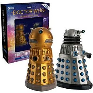 A picture of the two Dalek figures, a golden Emperor, and a silver and blue drone.