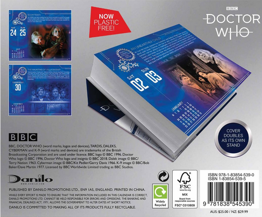 Rear cover of Doctor Who desk calendar