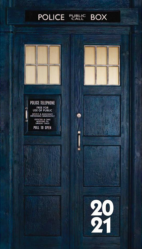 front cover of the Doctor Who 2021 slim diary (which is the front of the Tardis)