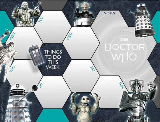 A page from the 2021 Doctor Who desk pad giving space for notes for a week