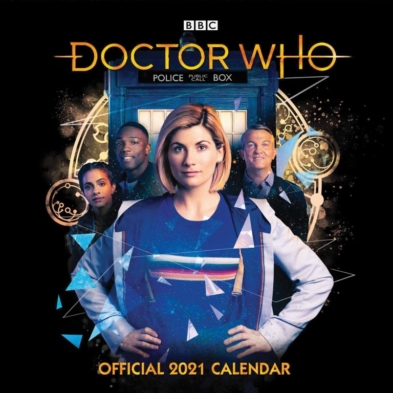Front cover of Season 12 2021 Doctor Who calendar