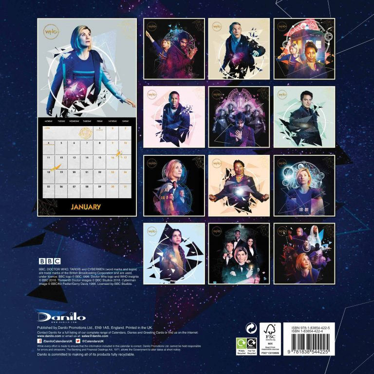 The rear cover of the Season 12 2021 Doctor Who calendar featuring all 13 pictures