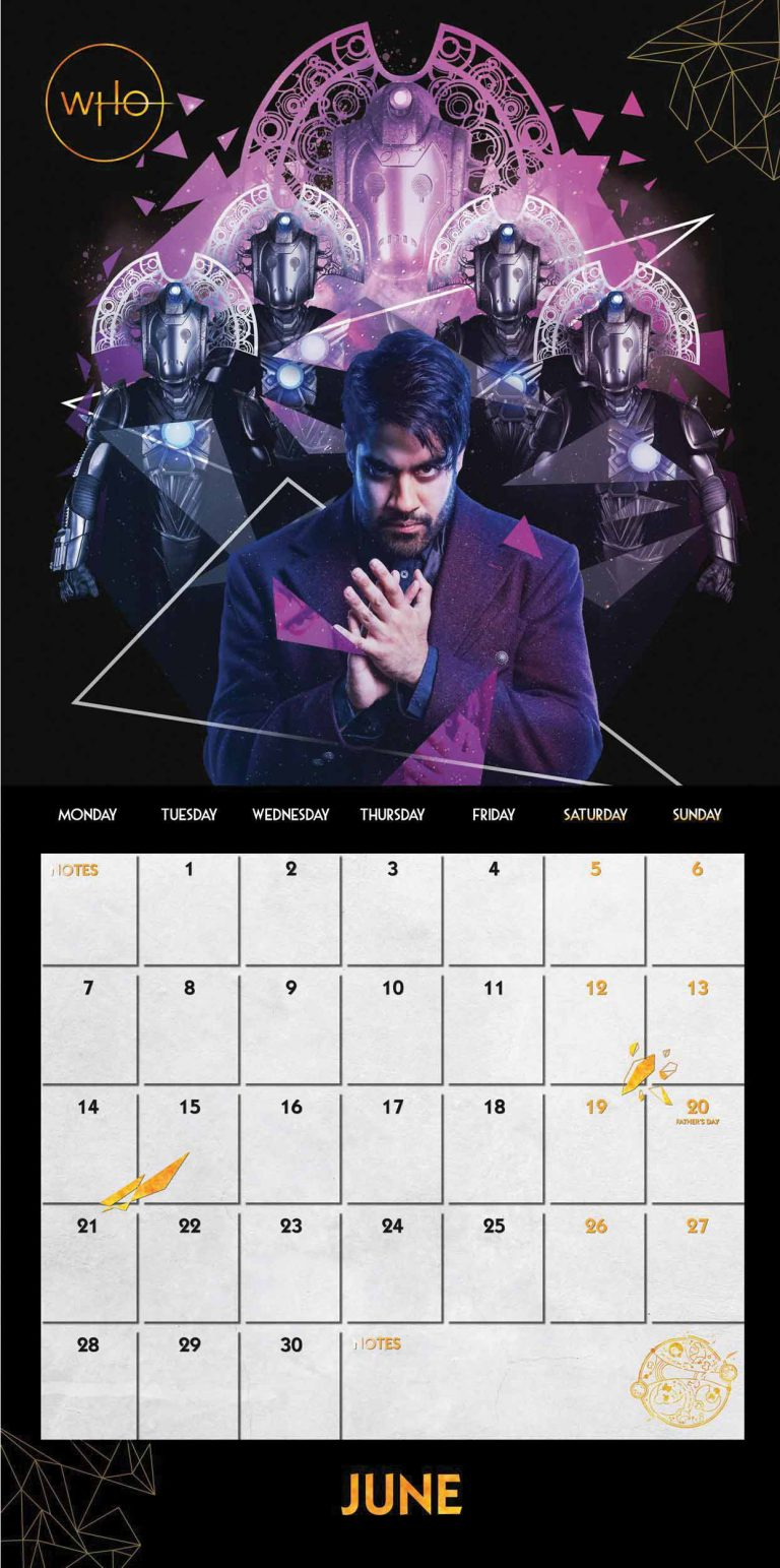 The June pages from the Season 12 2021 Doctor Who calendar featuring The Master and the Time Lord Cybermen