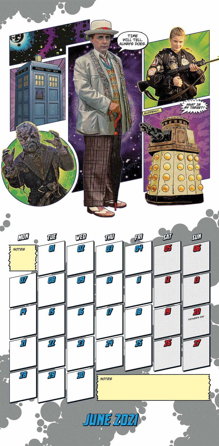 June section of the Classic Edition 2021 Doctor Who Calendar featuring the 7th Doctor
