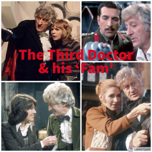 The Third Doctor and his 'Fam' - Jo Grant, Liz Shaw, The Brigadier and Sarah-Jane Smith.